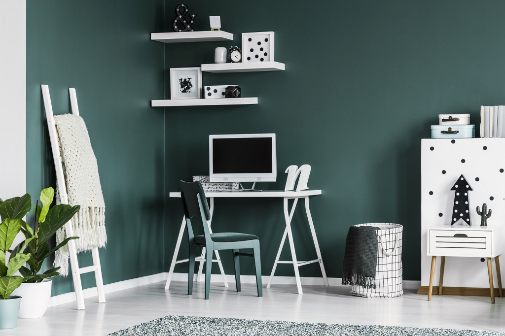 Home office painted green
