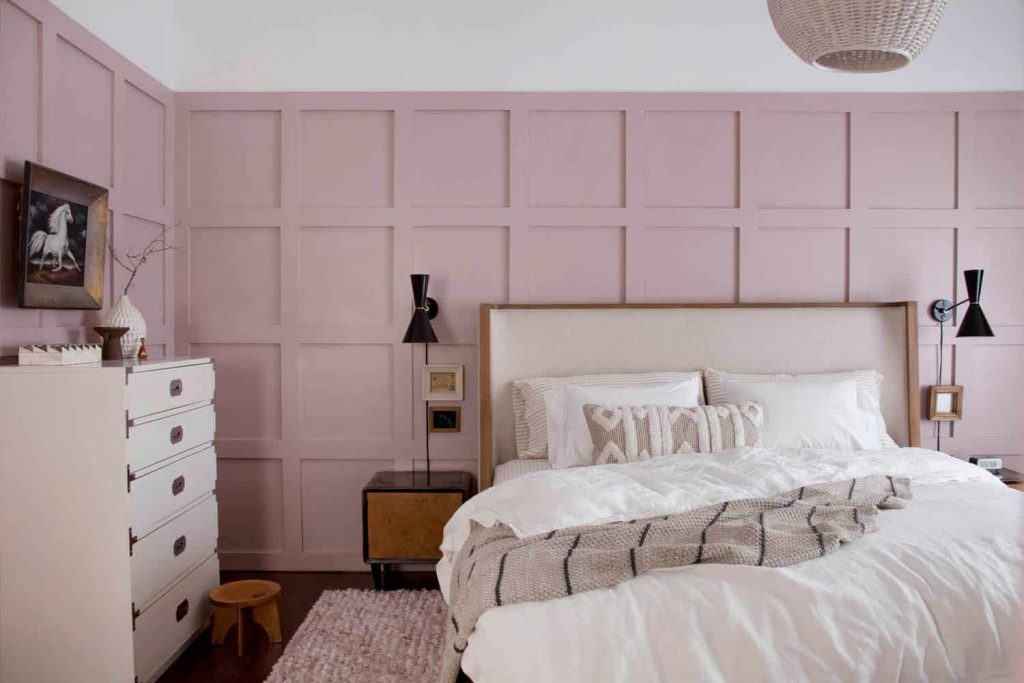 pink bedroom ideas with panelling from A beautiful mess