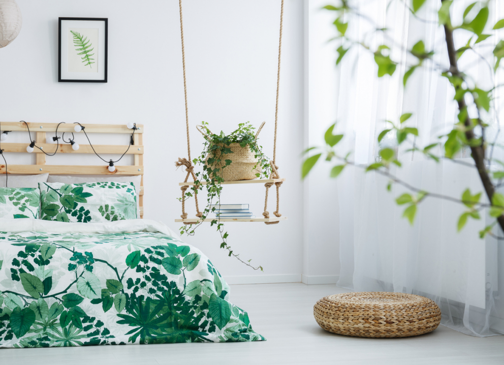Bright bedroom with leaves motif