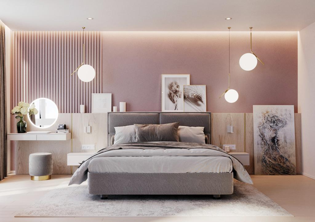 pink and grey bedroom by Buro2D interior designer Arina Zamorina