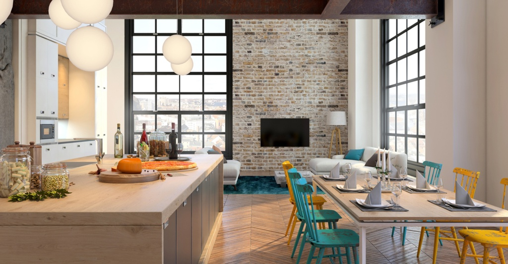 Open-plan kitchen with colourful chairs