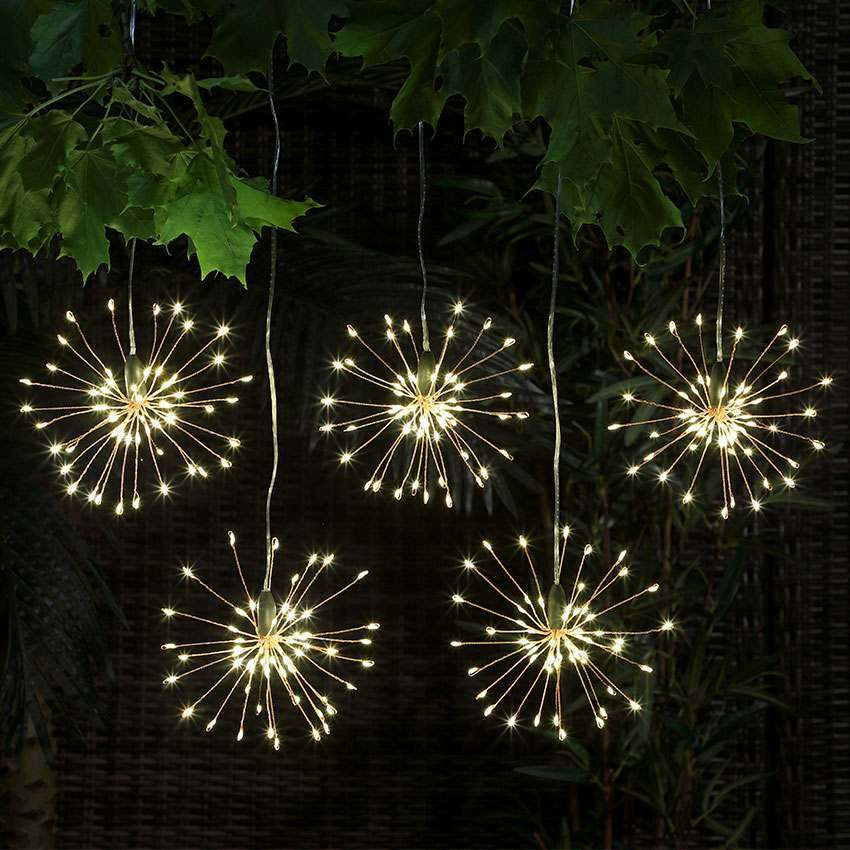 5 outdoor battery firefly starburst hanging garden lighting £23.99 Festive Lights