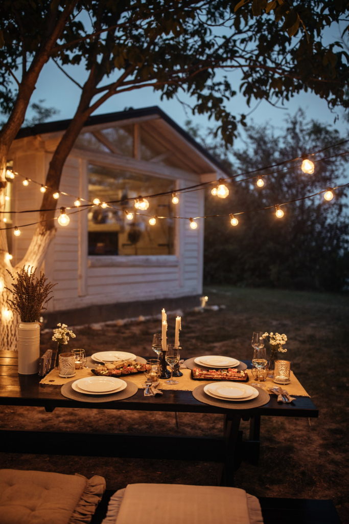 Festoon garden lighting