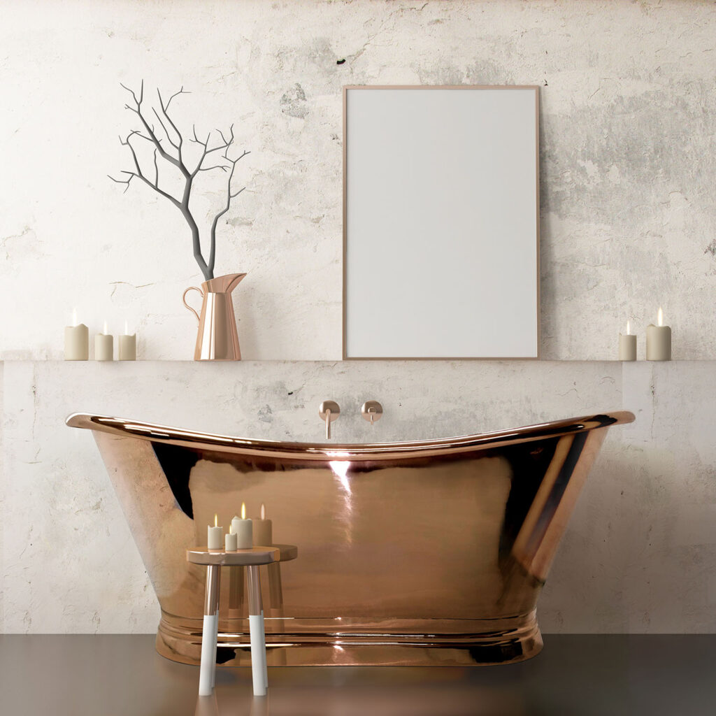 Copper boat freestanding bath BC Designs