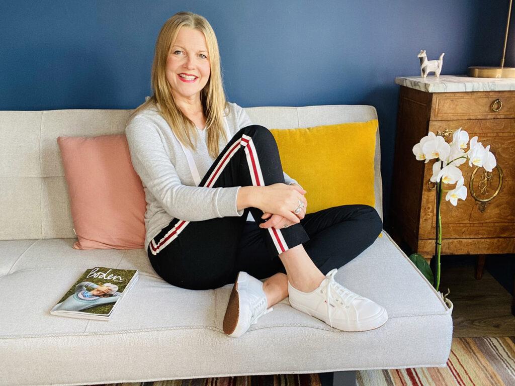 Sarah wearing loungewear
