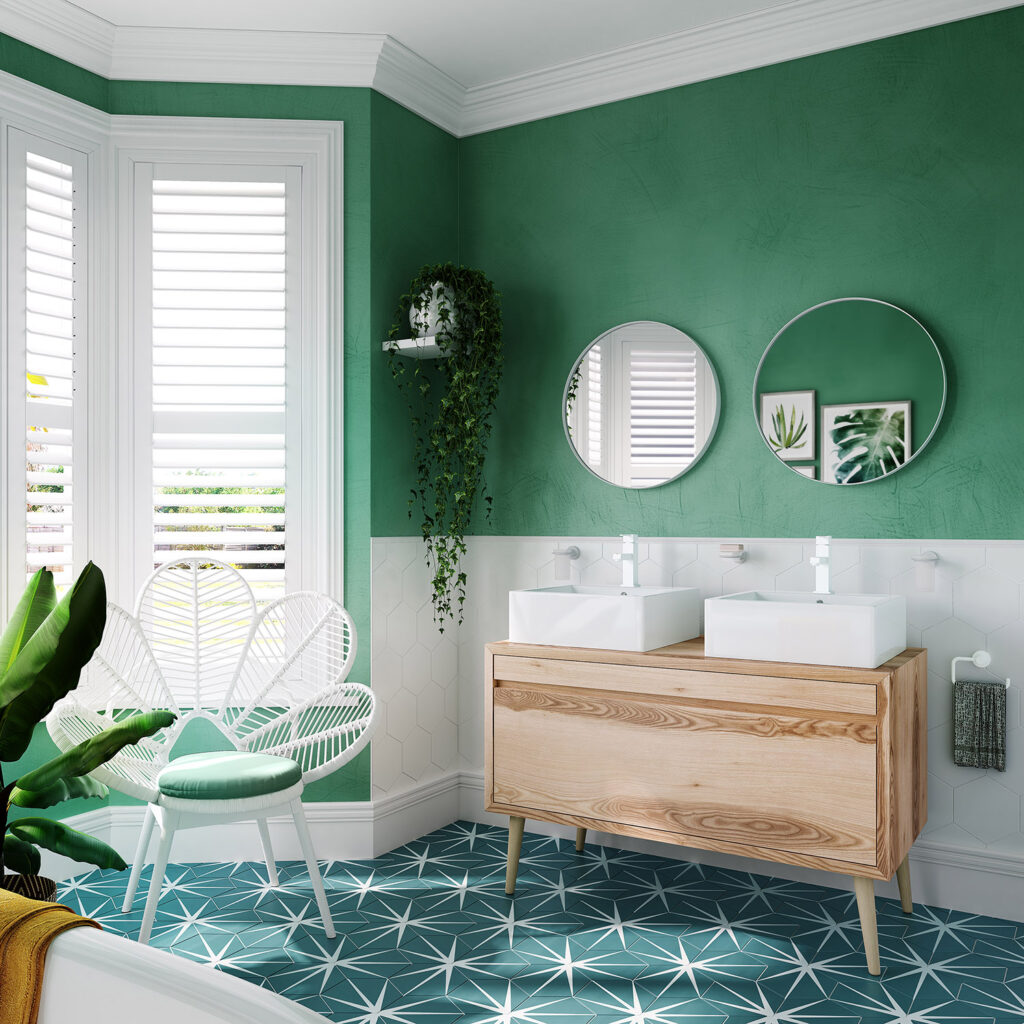 City round mirror in white bathroom decor