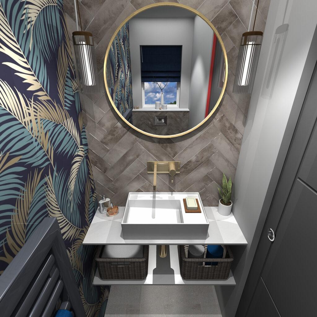 Love Your Bathroom cloakroom concept showcasing transitional design through bathroom decor