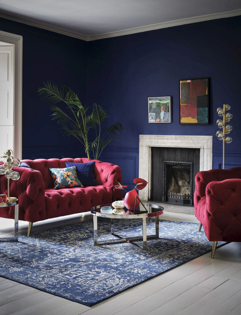 Sofology Alchemist Loveseat, Plush Cranberry, £899, 2 Seater Sofa, Plush Cranberry £1,299, Cushions from £30, Furniture from £249