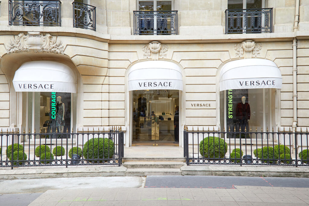 Versace fashion luxury store in avenue Montaigne in Paris, France