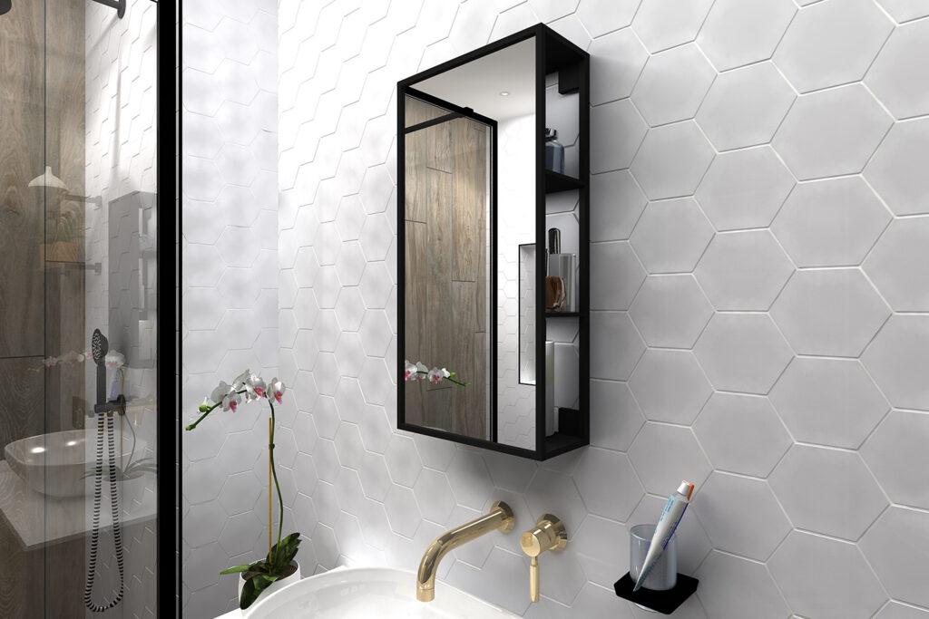 Dockside mirror open storage bathroom decor