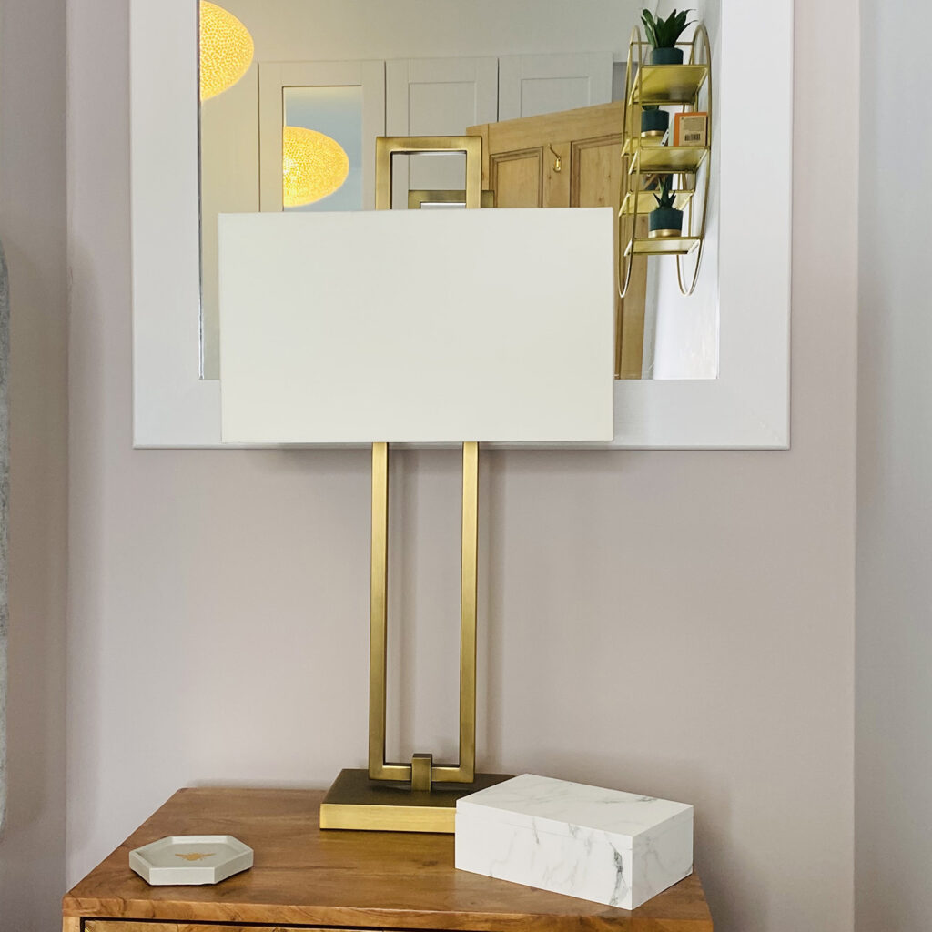 Athena table lamp from Sweetpea & Willow on bedside cabinet from Atkin & Thyme bedroom makeover ideas