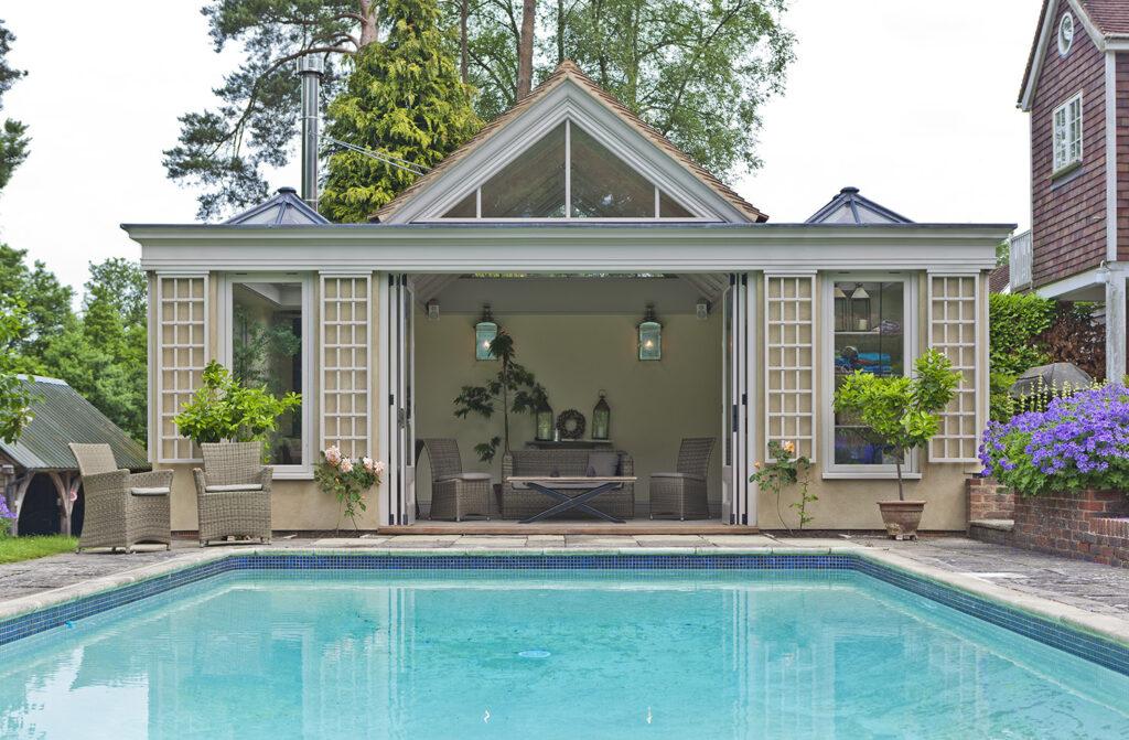 Vale Garden Houses insulated garden room poolside