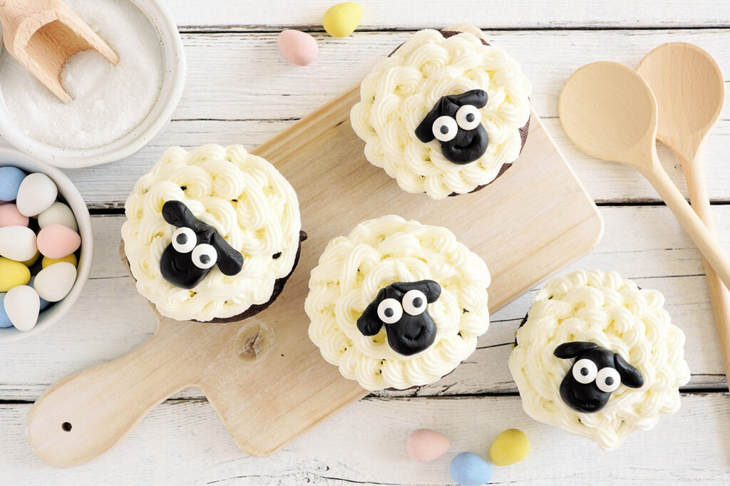 Homemade Easter baking with lamb cupcakes