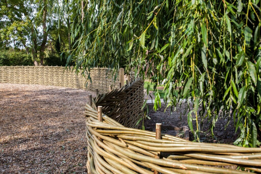willow fencing for garden privacy screen