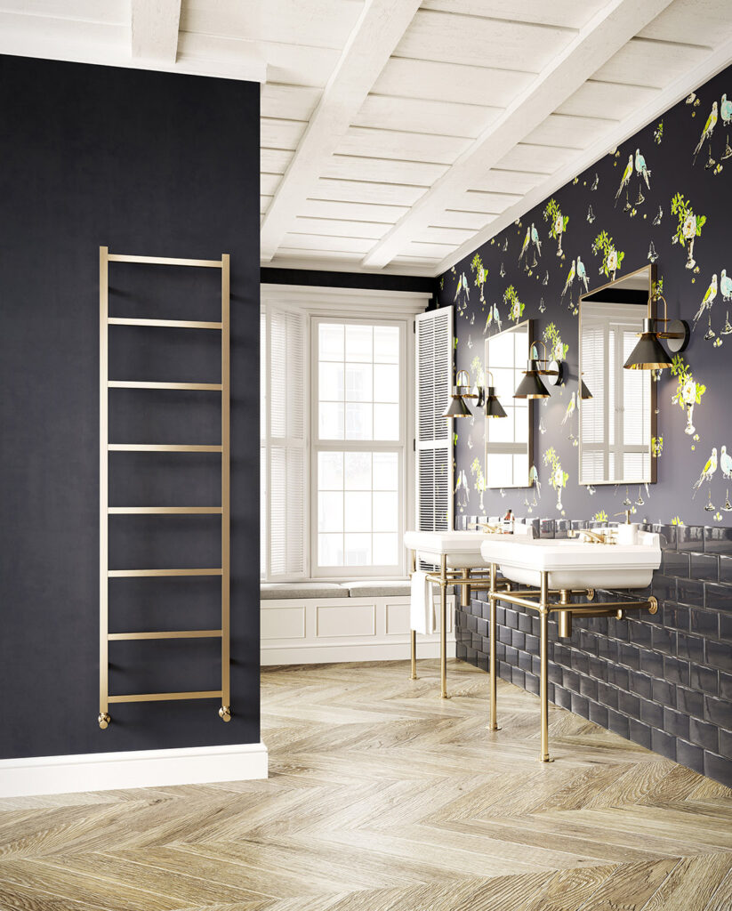 Austen brushed brass towel rail new product