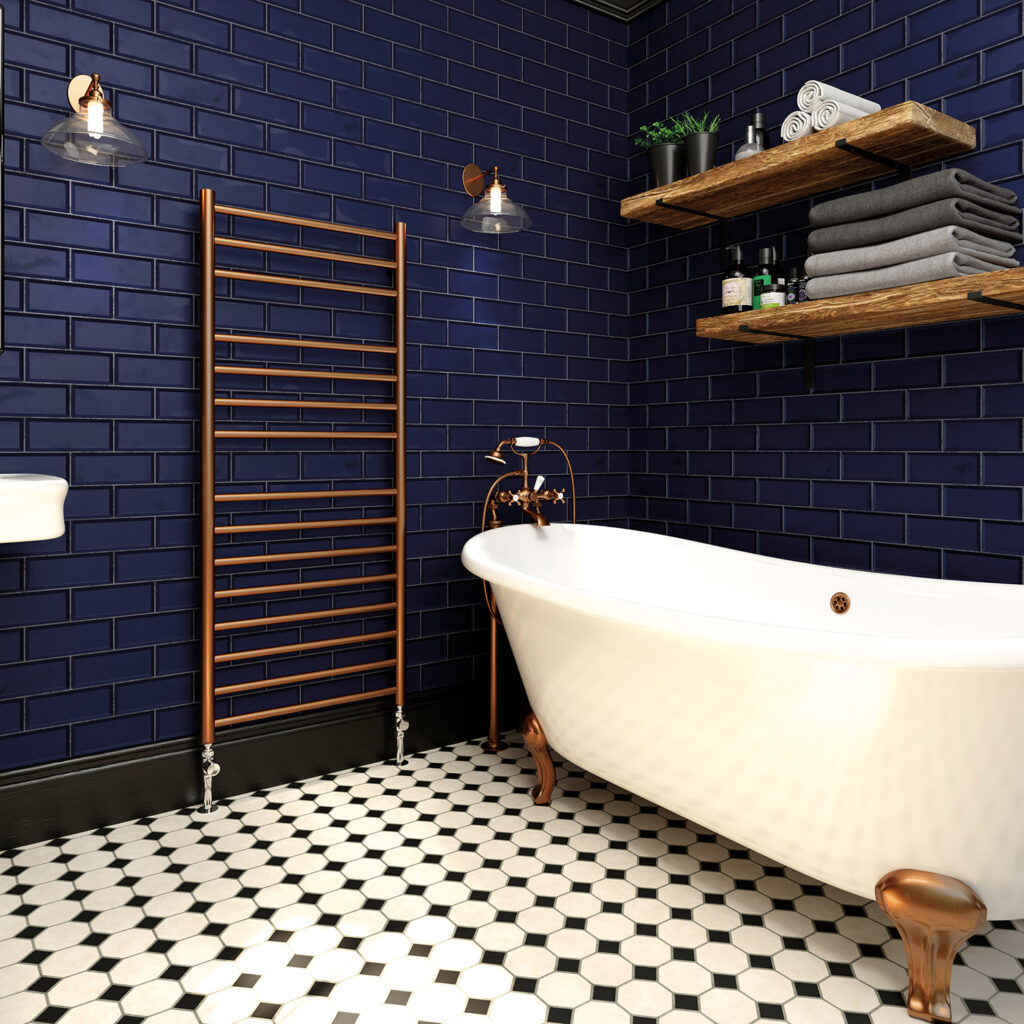 Rosa in copper lacquer towel rail from designer radiators and towel rails collection