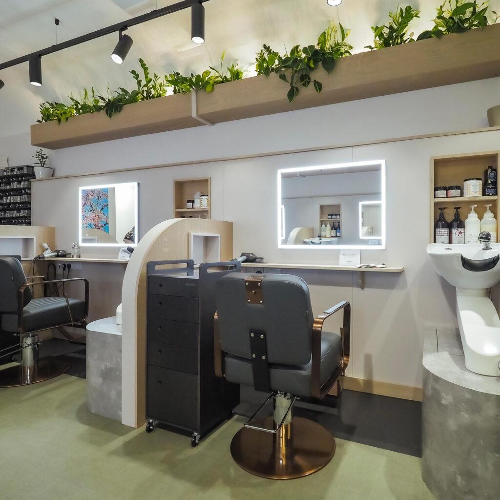 Living wall in hair salon