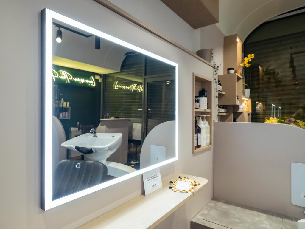 luxury mirror in commercial interior design project