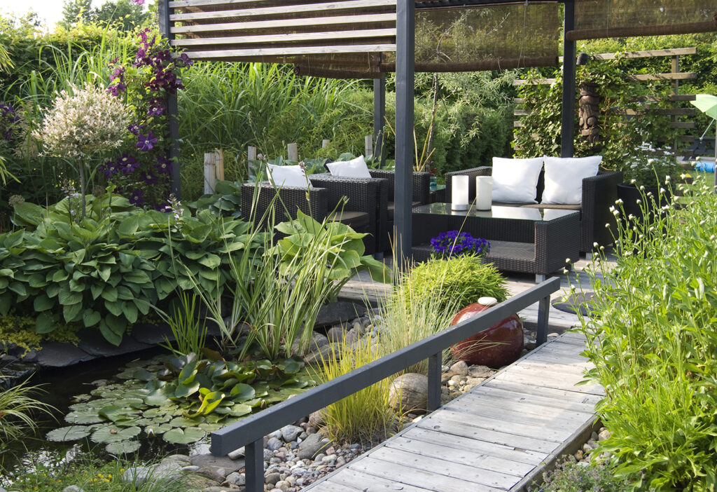 garden patio ideas sofas with pond