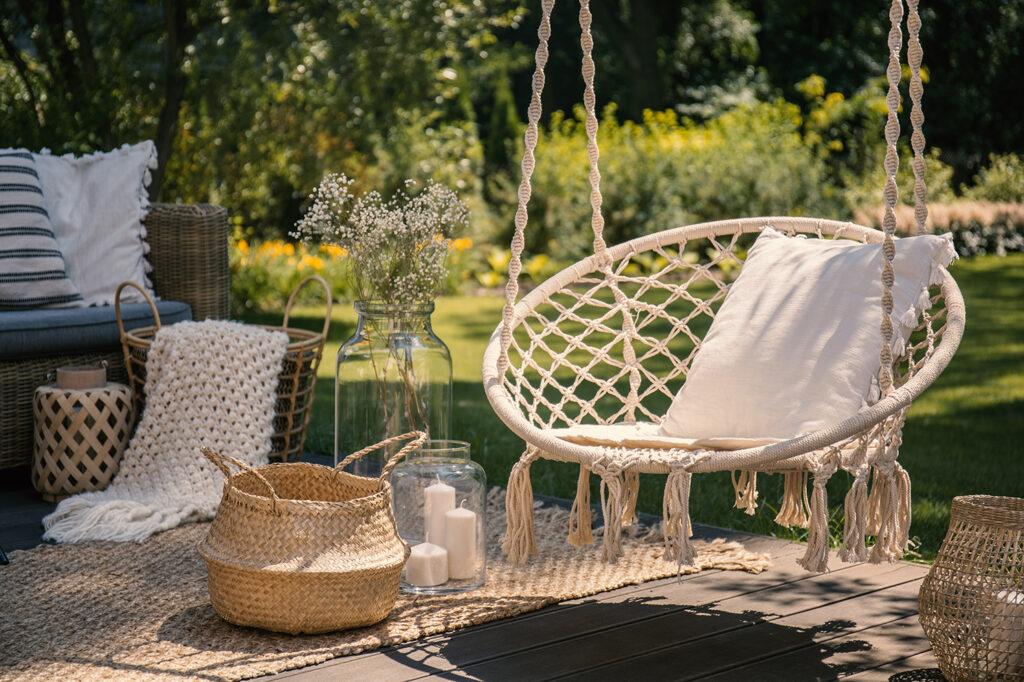 Garden patio ideas swinging chair