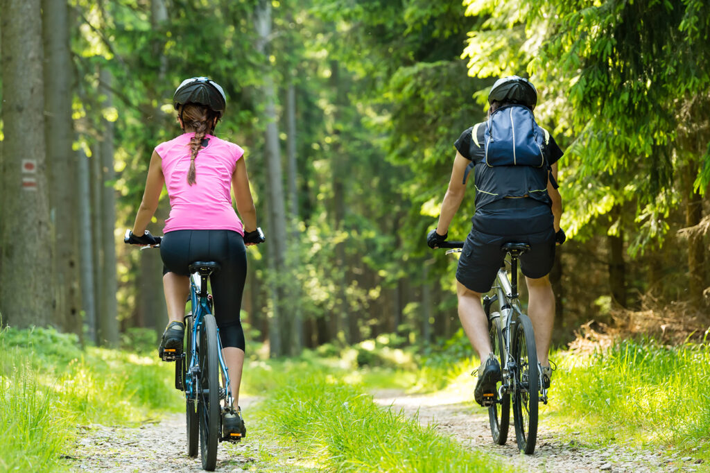 benefits of cycling in a forest